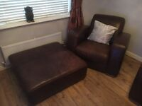 Brown Natuzzi Leather Suite - 3 seater / 2 seater / chair / extra large footstool