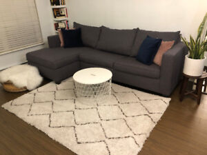 New Grey Sectional Couch with Sofa Bed