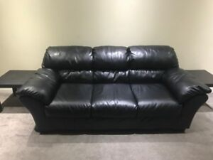 Leather couch and end tables