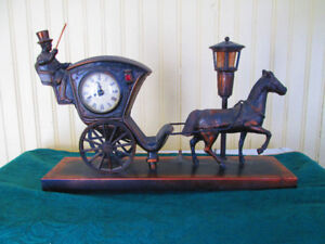 ELECTRIC HANSOM CAB CLOCK, ALL FUNCTIONS WORK