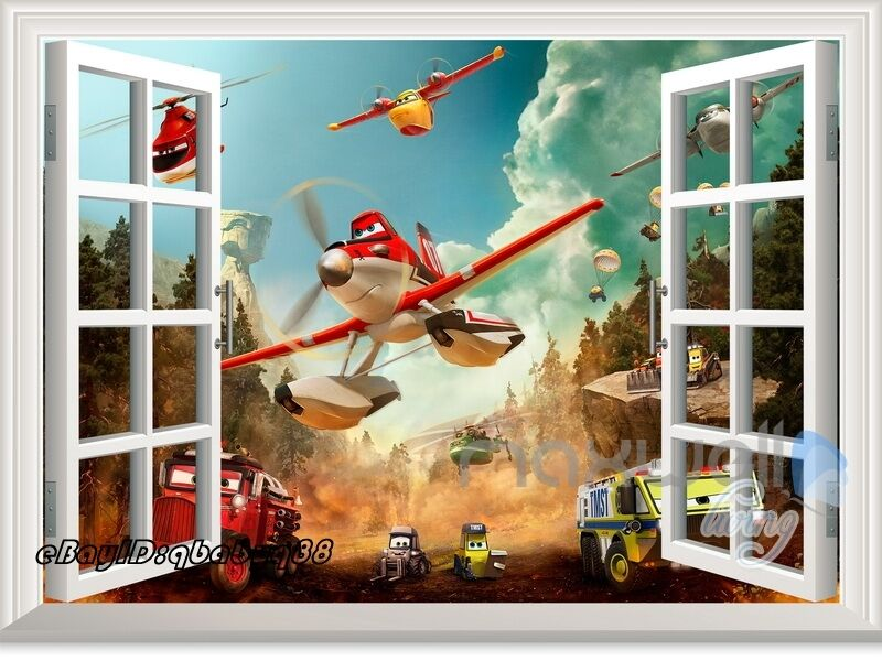 Disney planes fire rescue dusty 3d window wall decals for Disney planes wall mural