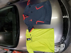 SOCCER REFEREE'S JERSEYS (6) AND FLAGS