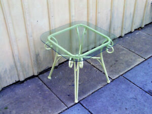 nice glass and steel end table-refinished