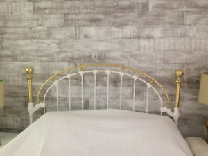 Queensize brass bed. Headboard, footboard and metal frame