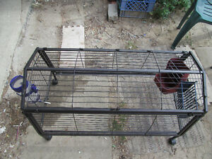 Easy to assemble black metal cage for small animals