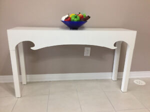 White stylist console table