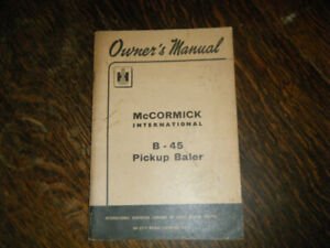 McCormick International B-45 Pickup Baler Owners Manual