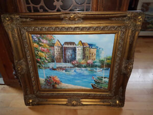 """Spectacular 20"""" by 24"""" European landscape oil painting in a stun"""