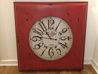 Large 'Next' Wall Clock - Rustic Red