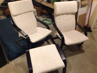 2 IKEA Poang chairs and footstool