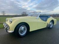 1959 Triumph TR3A Manual Overdrive in Primrose Yellow and Royal Blue interior