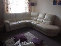 CREAM Right-Hand Leather Recliner Corner Group Sofa
