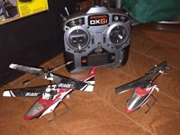 2 RC helicopters, Spektrum remote