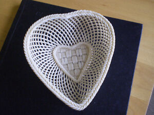 Belleek Ireland Heart Shaped Woven Basket/Dish
