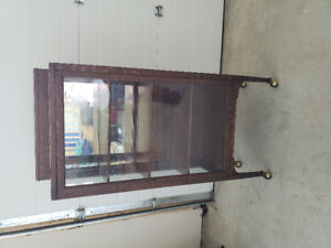 Antique Solid Oak Display Cabinet - Reduced Price