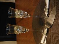 Celtic Love Knot Champagne Flutes & Cake Server Set