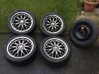 BK Racing 17 alloy wheels with tyres 225/45/17 £200 ono came from ford mondeo alloys