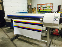 Roland large format printer, Laminator, indust.Table, vinyl rack