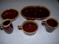 """Hull Pottery  - 5 pieces of """"Brown Drip"""" Ovenware - Vintage!"""
