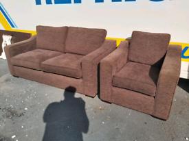 Sofa - Quality Extra Comfy Dark Brown Fabric 3+1 Seater Sofa Set