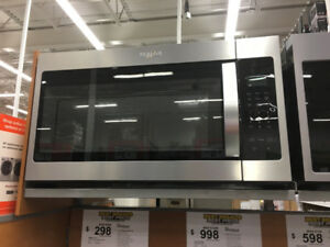 New Whirlpool Stainless Steel Microwave - Wall mount over Stove