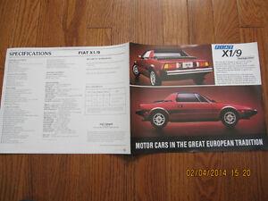 Fiat X1/9 Spec Pamphlet