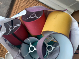 Free B&Q Lamp Shades in Red, Green, Yellow and Purple