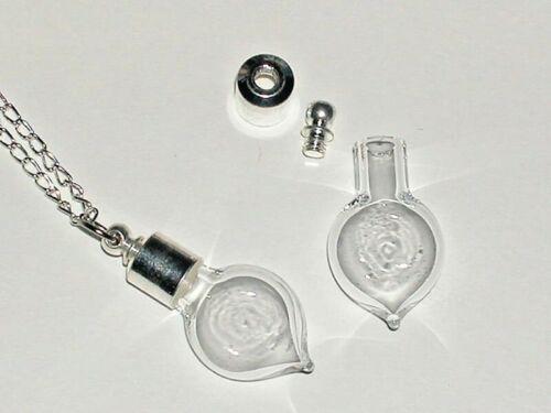 1 Glass small HEART bottle vials pendant w/ SCREW CAP*