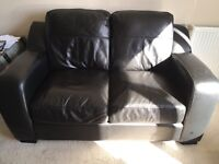 Black Leather 2x2 sofas and foot stool