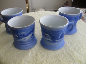 "MATCHING SET of 4 VINTAGE COLLECTIBLE ""CURRIER & IVES"" MUGS"