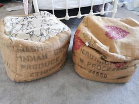Hessian bean bag foot stools