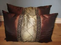 BROWN & GREEN DECORATIVE PILLOWS - $10.00 for BOTH