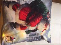 Christmas light up cushion and Christmas pudding Pom pom