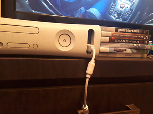 Xbox 360 with 6 games and controller and cords
