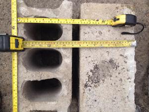 "8"" concrete block, 4"" concrete block, 4"" Clay bricks"