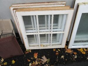 "4 wood multi pane windows about 24"" x 24"""