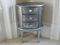 bedside table cabinet embossed silver