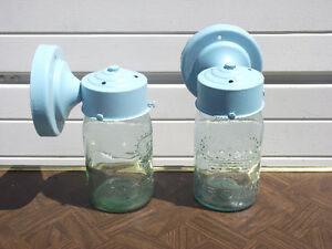 Porch Lamps with Antique Green Glass Crown Mason Jars