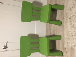 IKEA children's chairs and stool