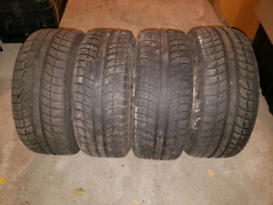 "4 Michelin winter tires 225/45 R17 17"" run flat on replica mags"
