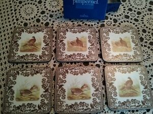SET OF 6 SPODE WOODLAND COASTERS With ORIGINAL BOX