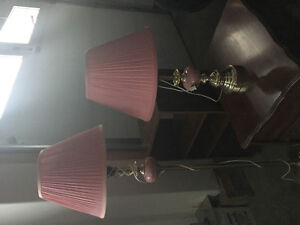 1 floor with 2 table brass lamps