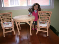 SAMANTHA WICKER TABLE AND 2 CHAIRS WITH CUSHIONS