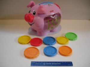 Fisher Price Laugh & Learn Pink Piggy Bank with 8 coins!