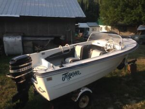 15 ft  Thermaglass runabout on trailer