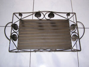 METAL SERVING TRAY WITH LEAF DESIGNS