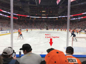 3 Seats Row 1 Section 112 vs Detroit Red Wings Jan 22