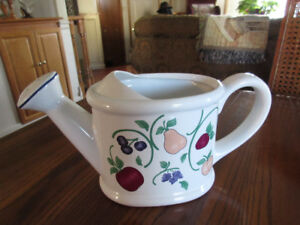 Princess House Orchard Medley Watering Can,Flower Pots on Tray