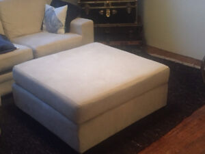 Off white microfiber micrfiber ottoman large suede