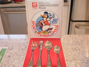 childs stainless cutlery set  NIB